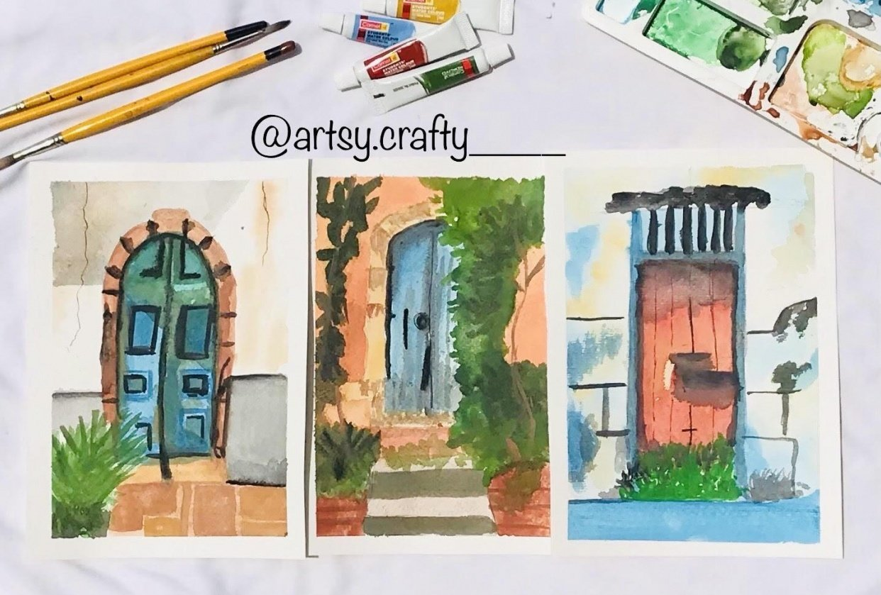 Watercolour Painting (Rustic Doors) - student project