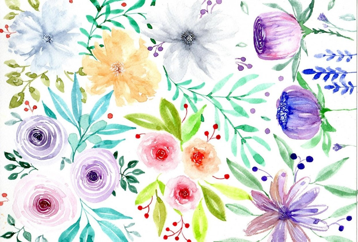 Loose Watercolor Florals - student project