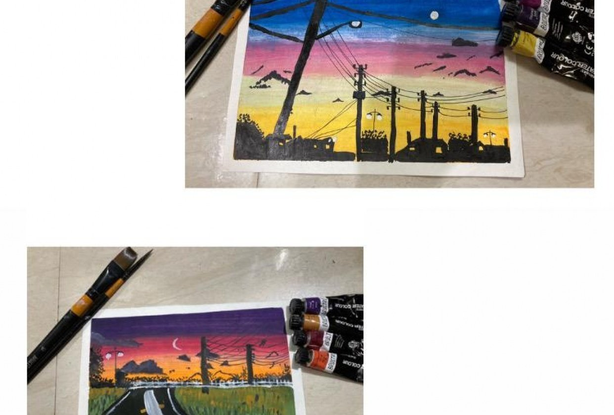 Power line sunset paintings - student project