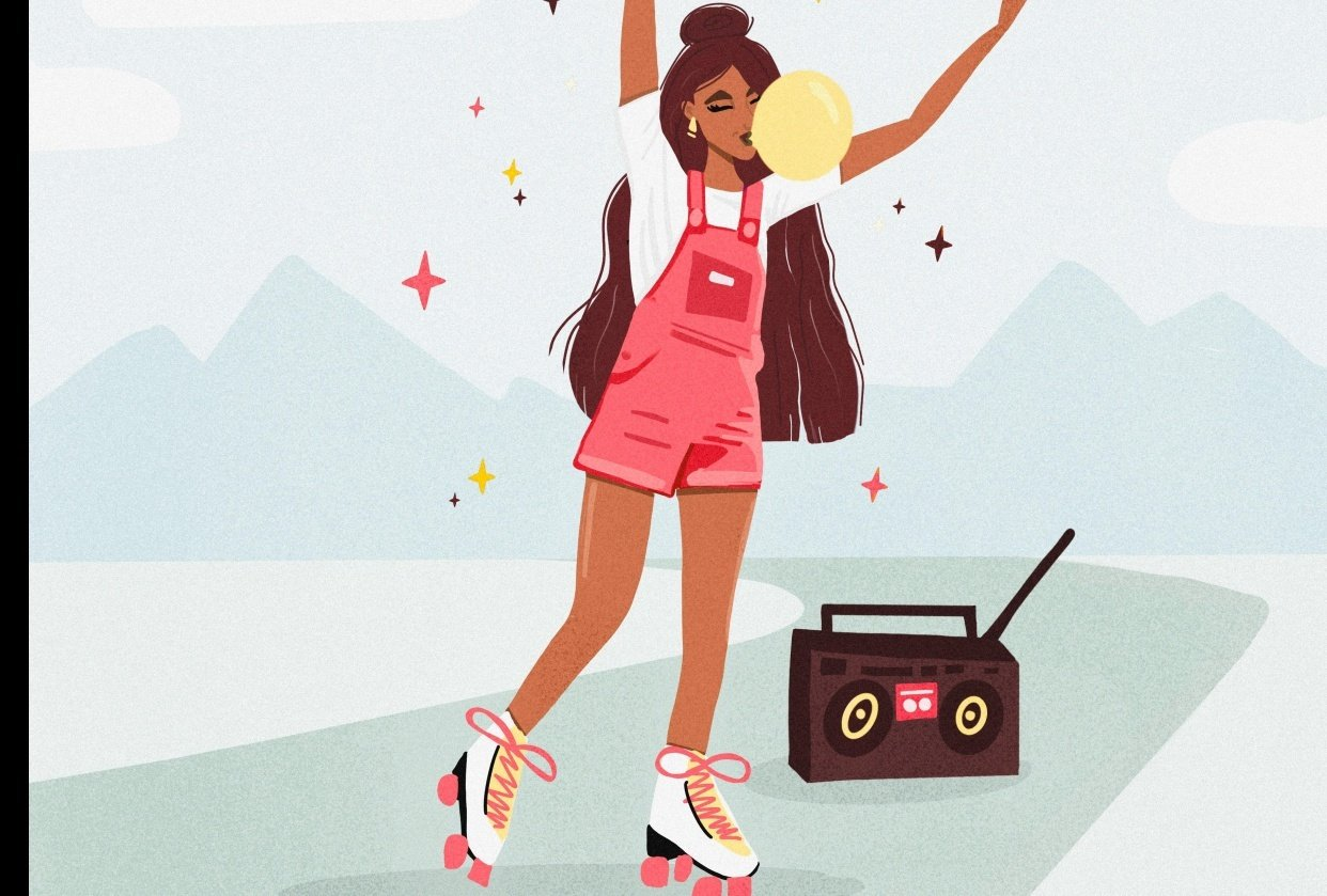 Girl with long hair, roller skates & bubble gum - student project