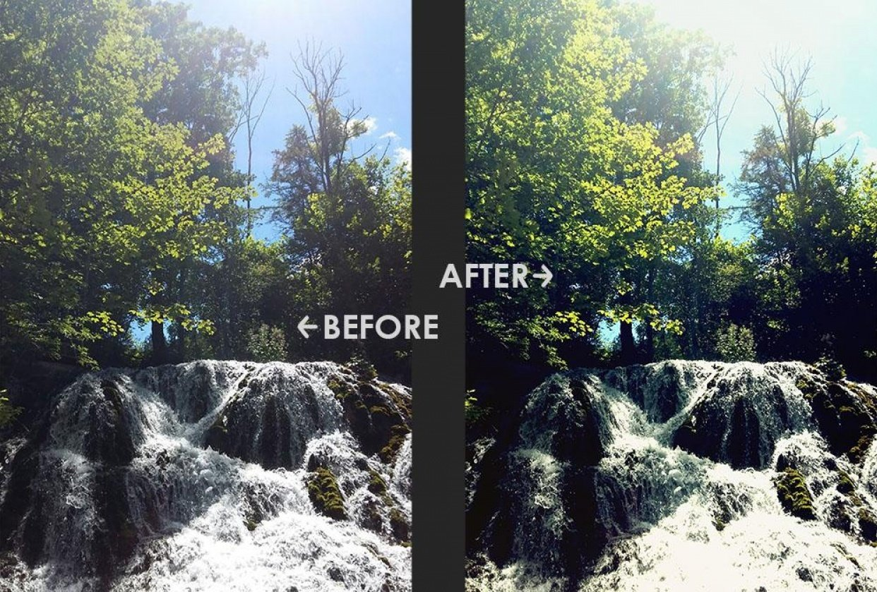 waterfall before and after - student project