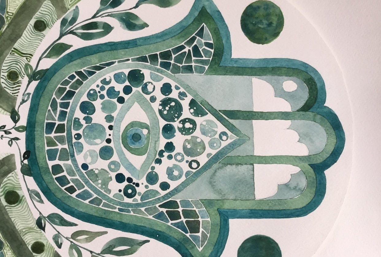 Monochrome-ish Hamsa Hand in Green-Blue - student project