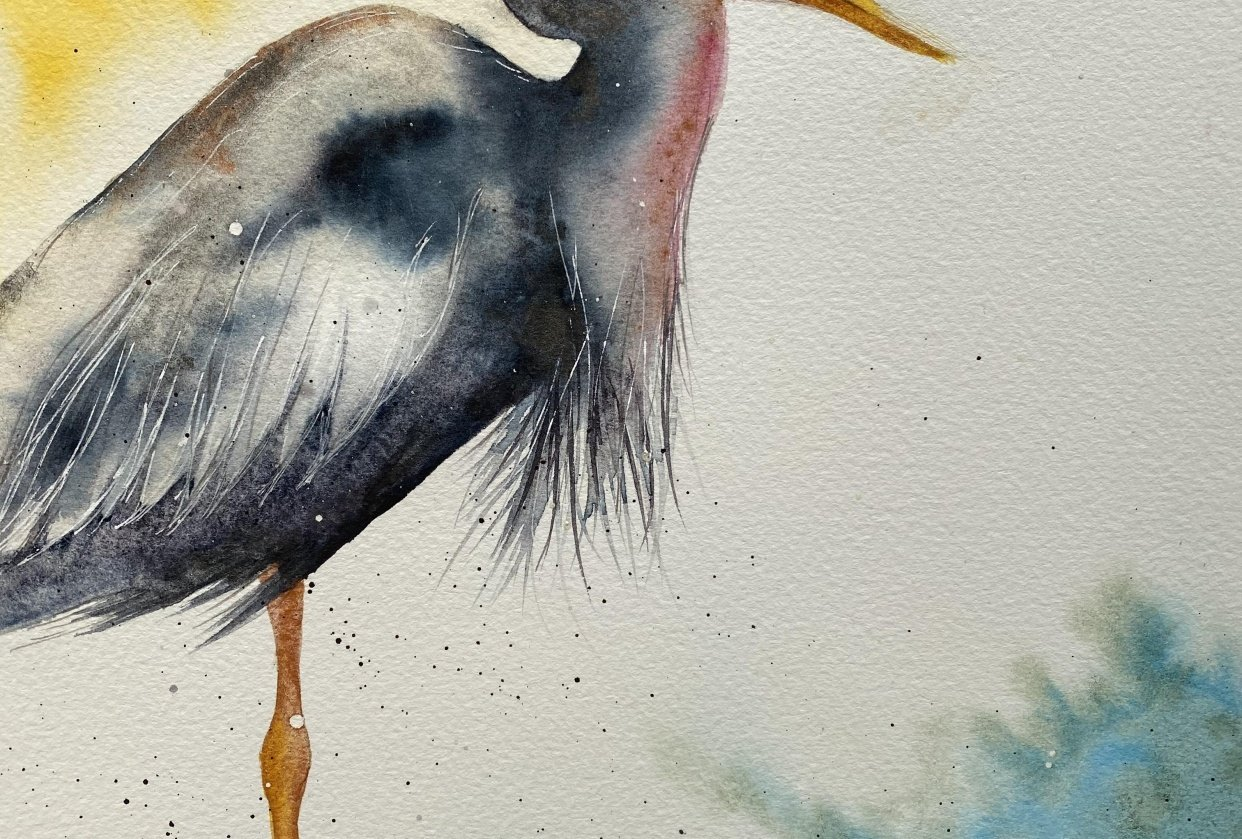 Fantasy Heron - Free Flow Watercolour - student project