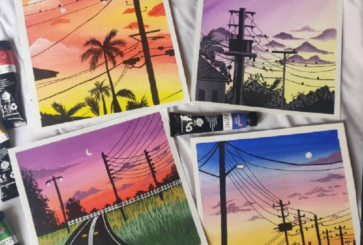 Powelines sunsets paintings in gouache - student project