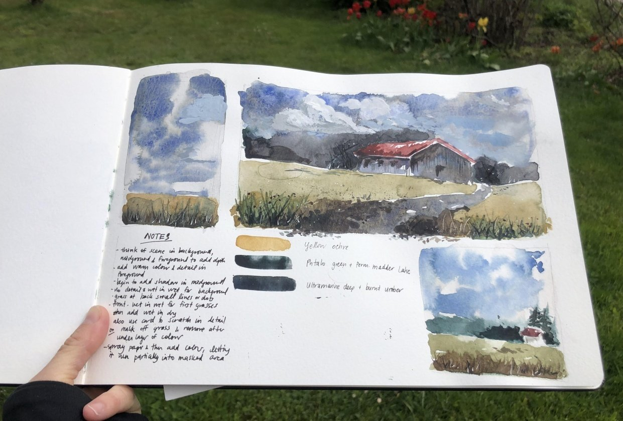 Alpine cabin & meadows - student project