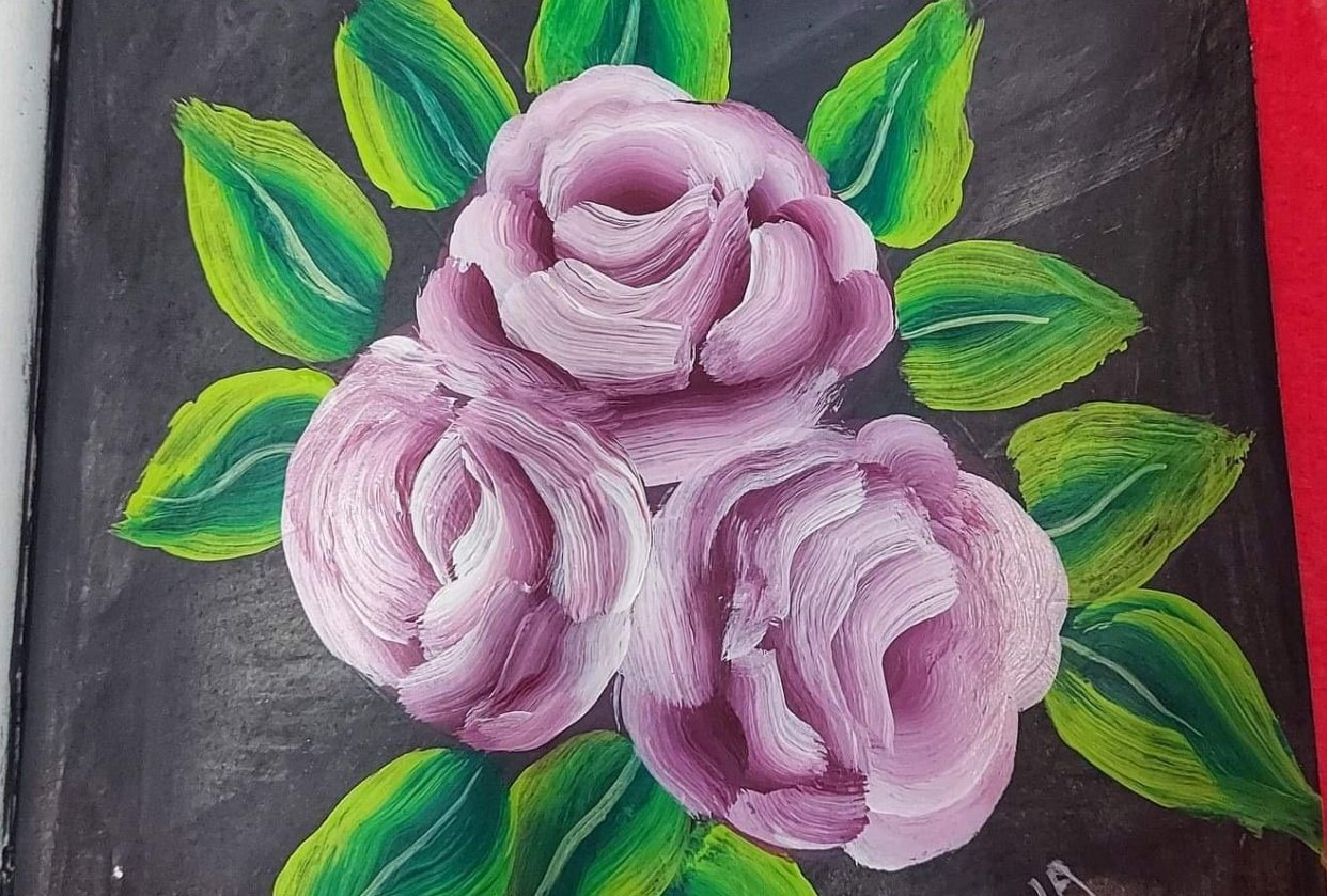 Acrylic flower painting - student project