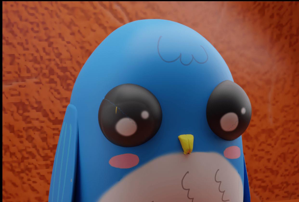 Cute blue bird - student project