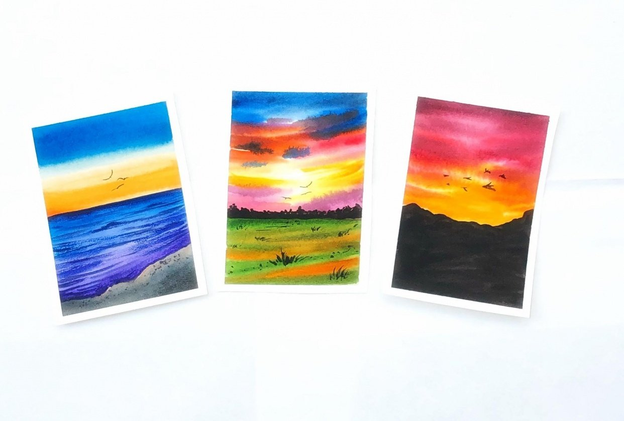 Watercolor sunset - student project