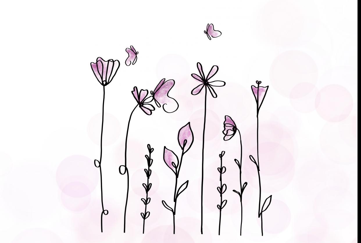 Pink flowers & butterflies - student project