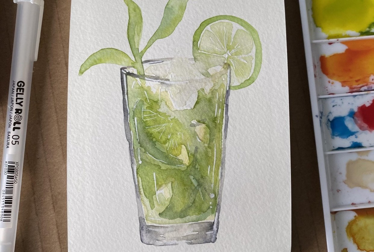 Mojito and pink gin cocktail - student project