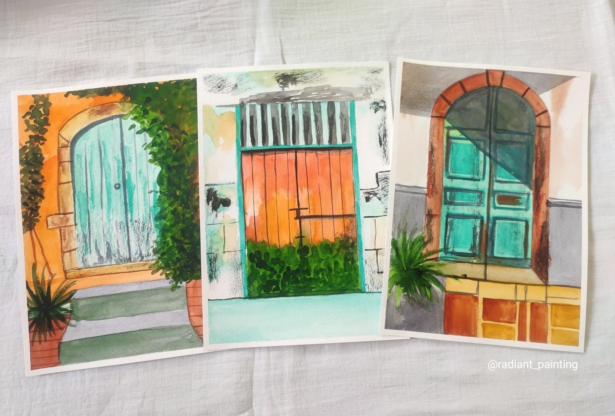 Watercolor Rustic Old Doors - student project