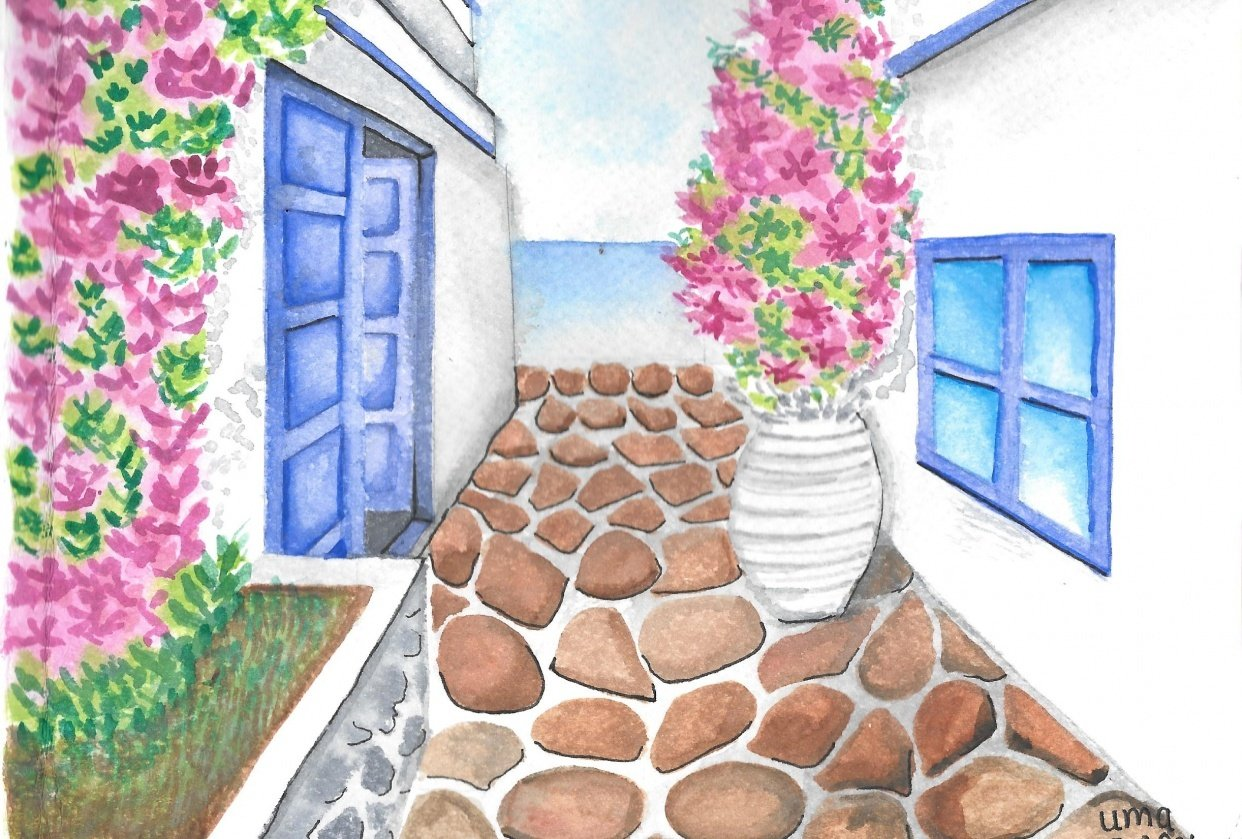 Watercolor  Greece Travelogue - student project