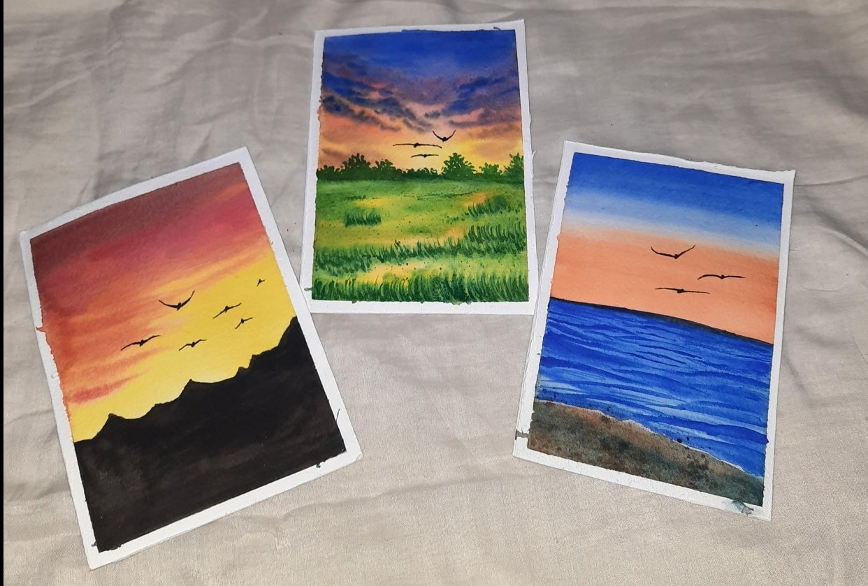 How to paint Watercolor Aesthetic Sunsets with Simran - student project