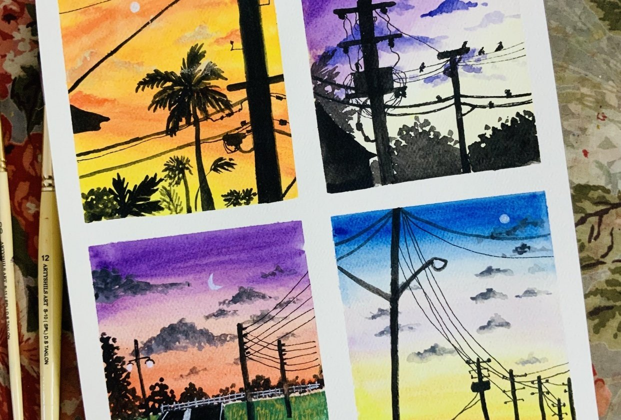 Sunset skies in gouache - student project
