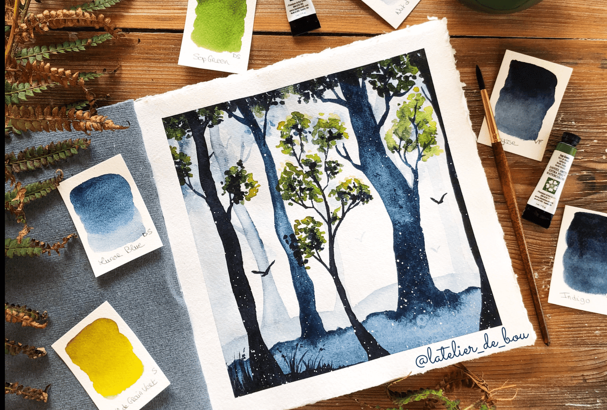 Watercolor Misty Forest - student project