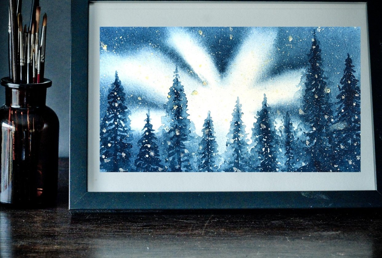 BACKLIT SNOWY PINE TREES - student project