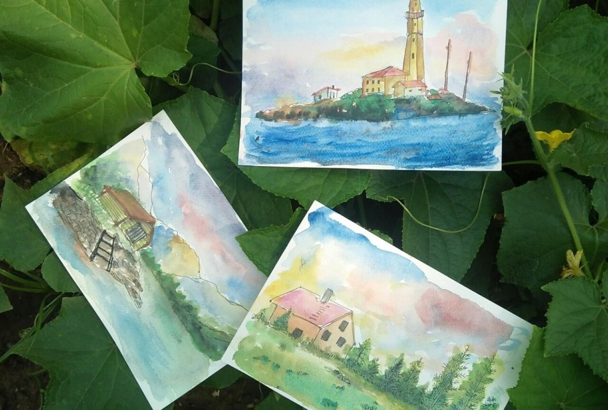 Watercolor sceneries - student project