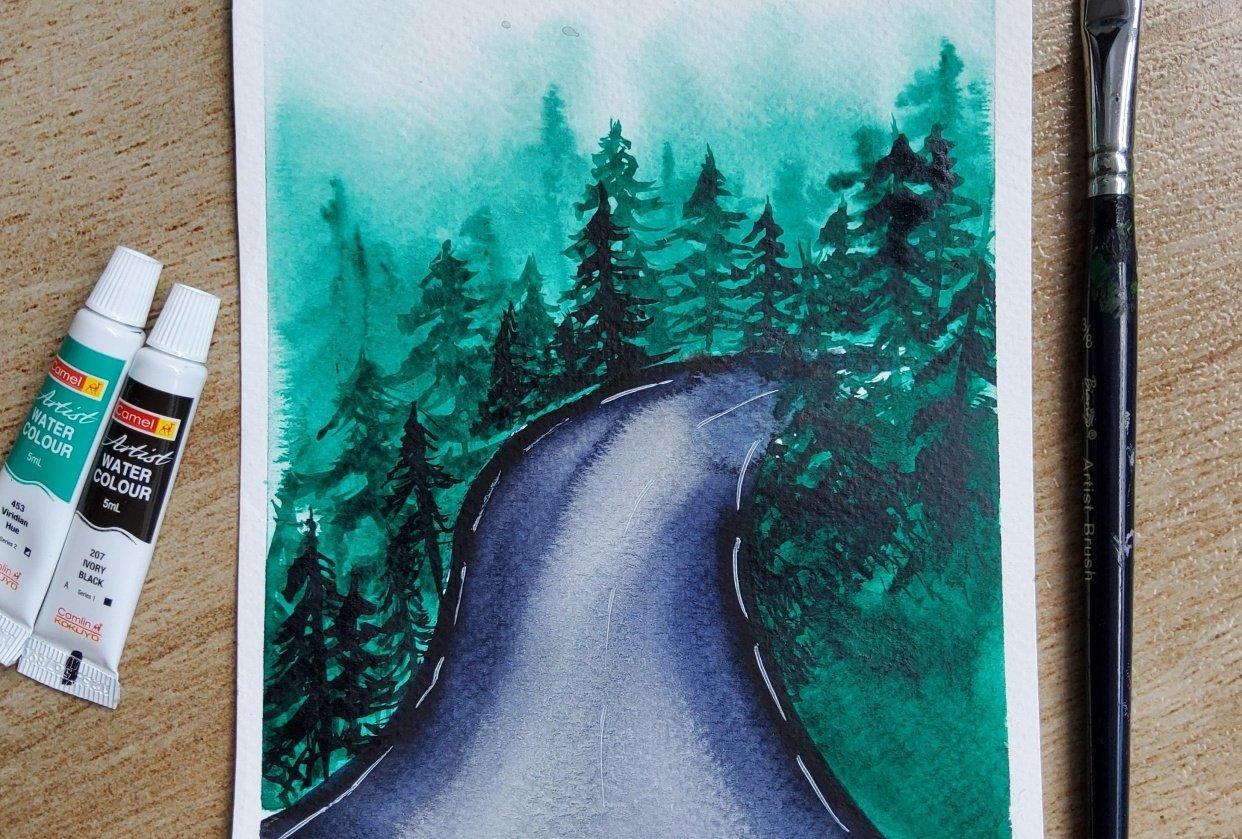 Rainy road - student project