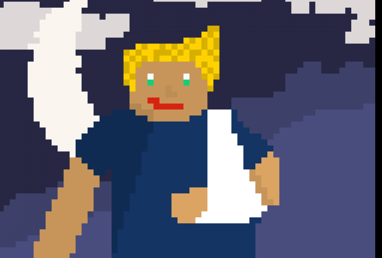 My first pixel art (or any art) character (croped) - student project
