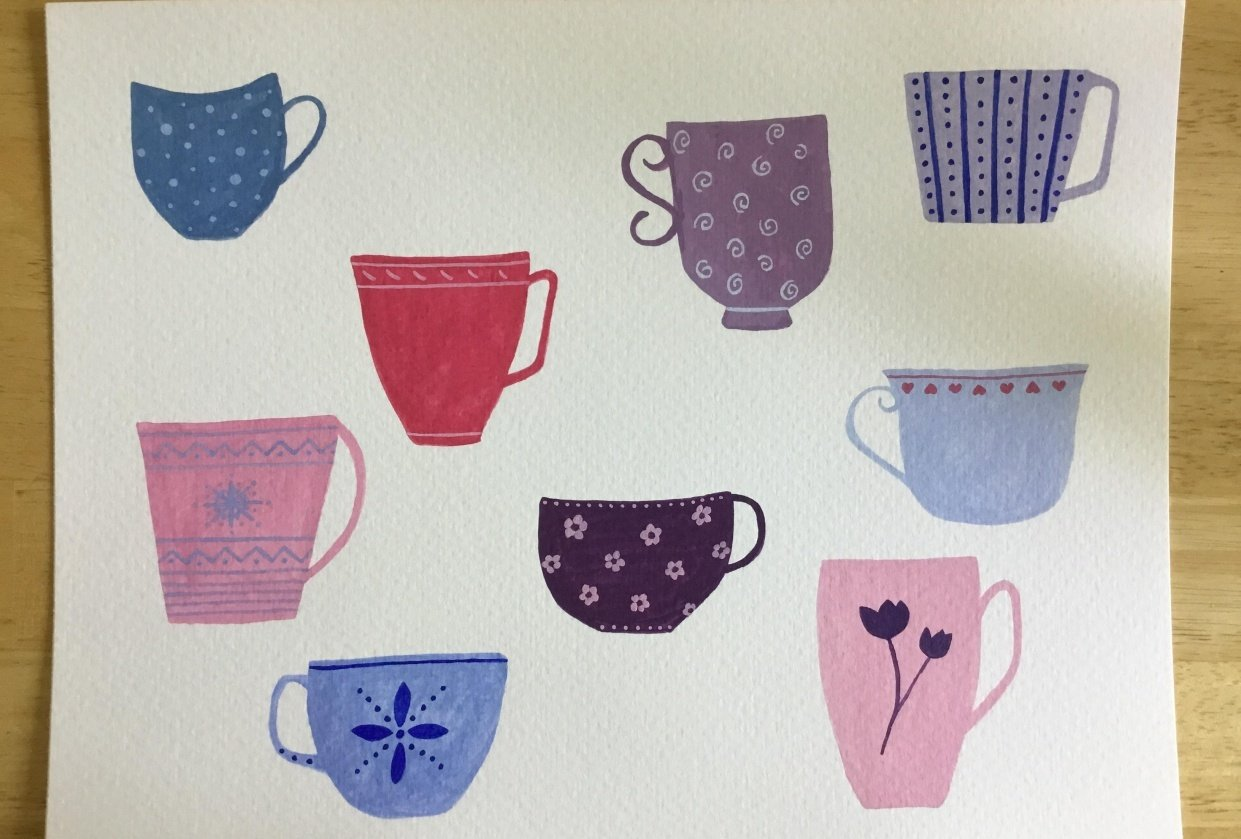 Teacups in Gouache - student project