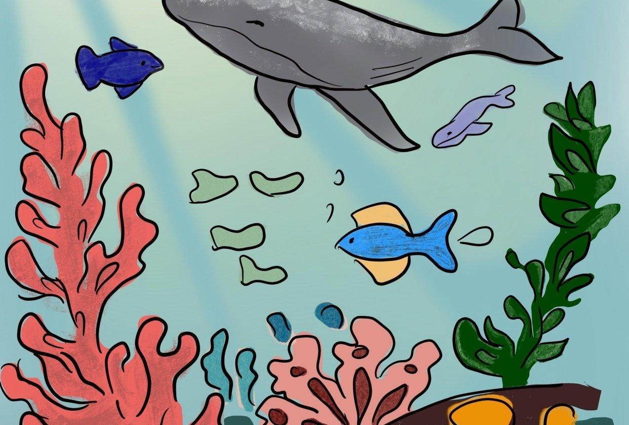 Underwater scene digital illustration - student project