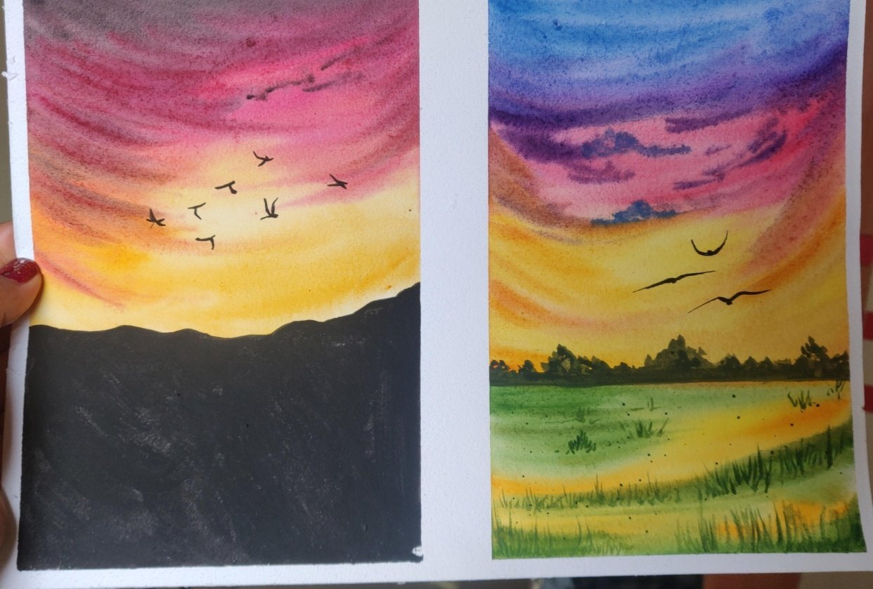 Watercolor aesthetic sunsets. - student project