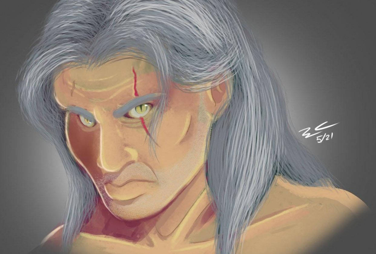 Digital Painting [Geralt from The Witcher] - student project