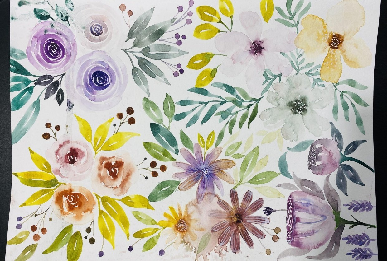 Watercolor floral project - student project