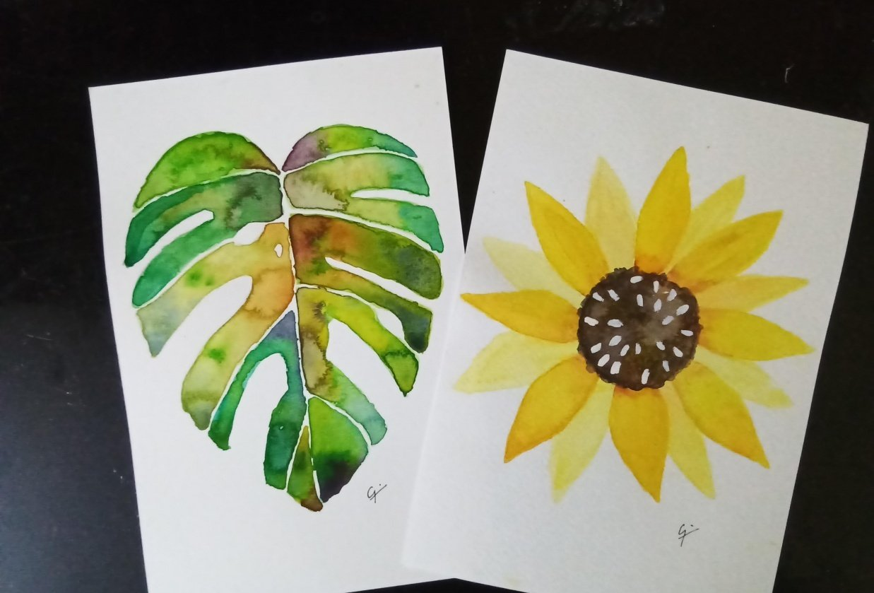 Botanical watercolors painting - student project