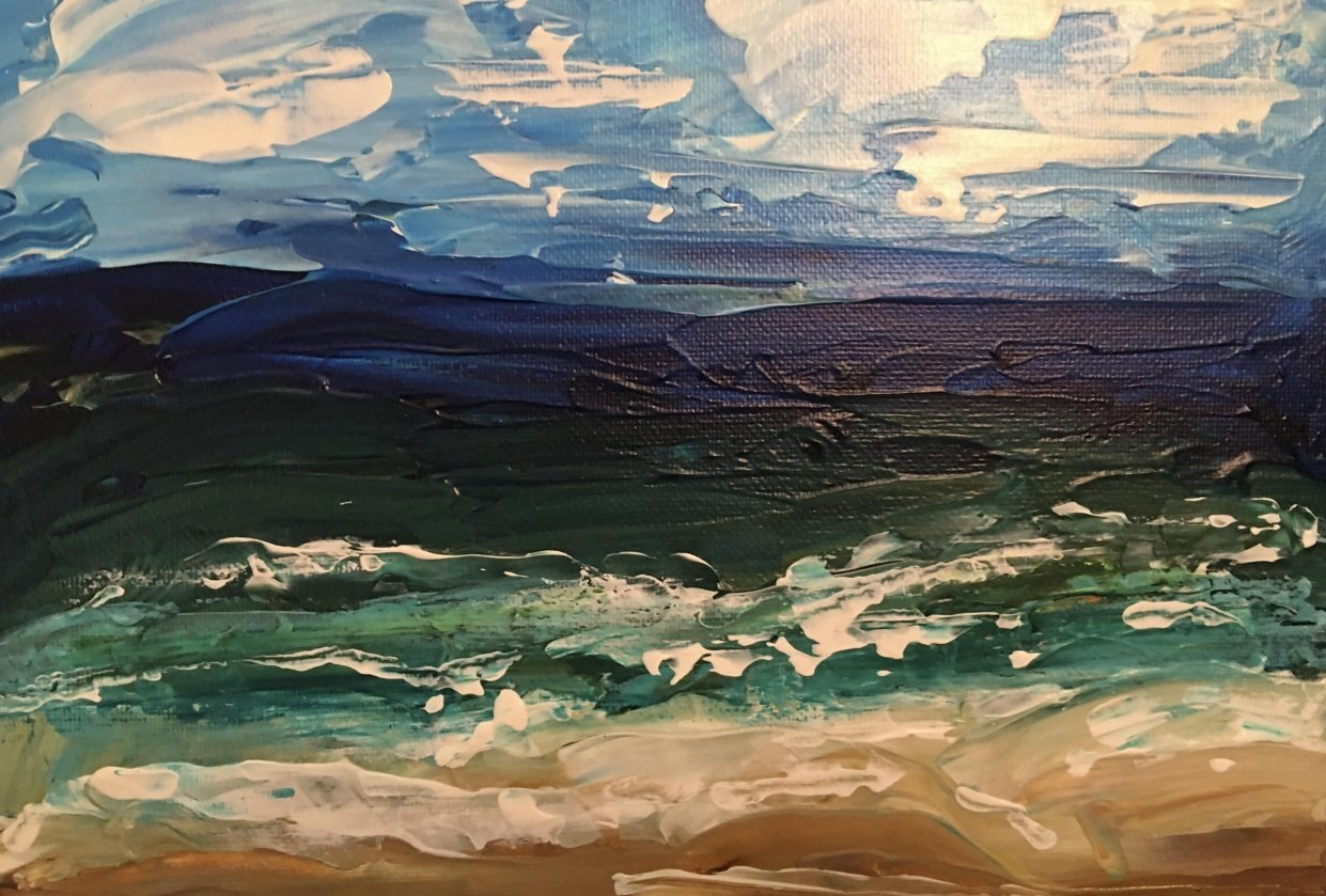 Seaside landscape with palette knives - student project