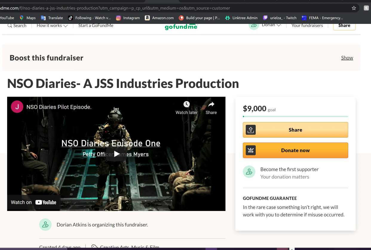 Screen Shot of My Go Fund Me page - student project