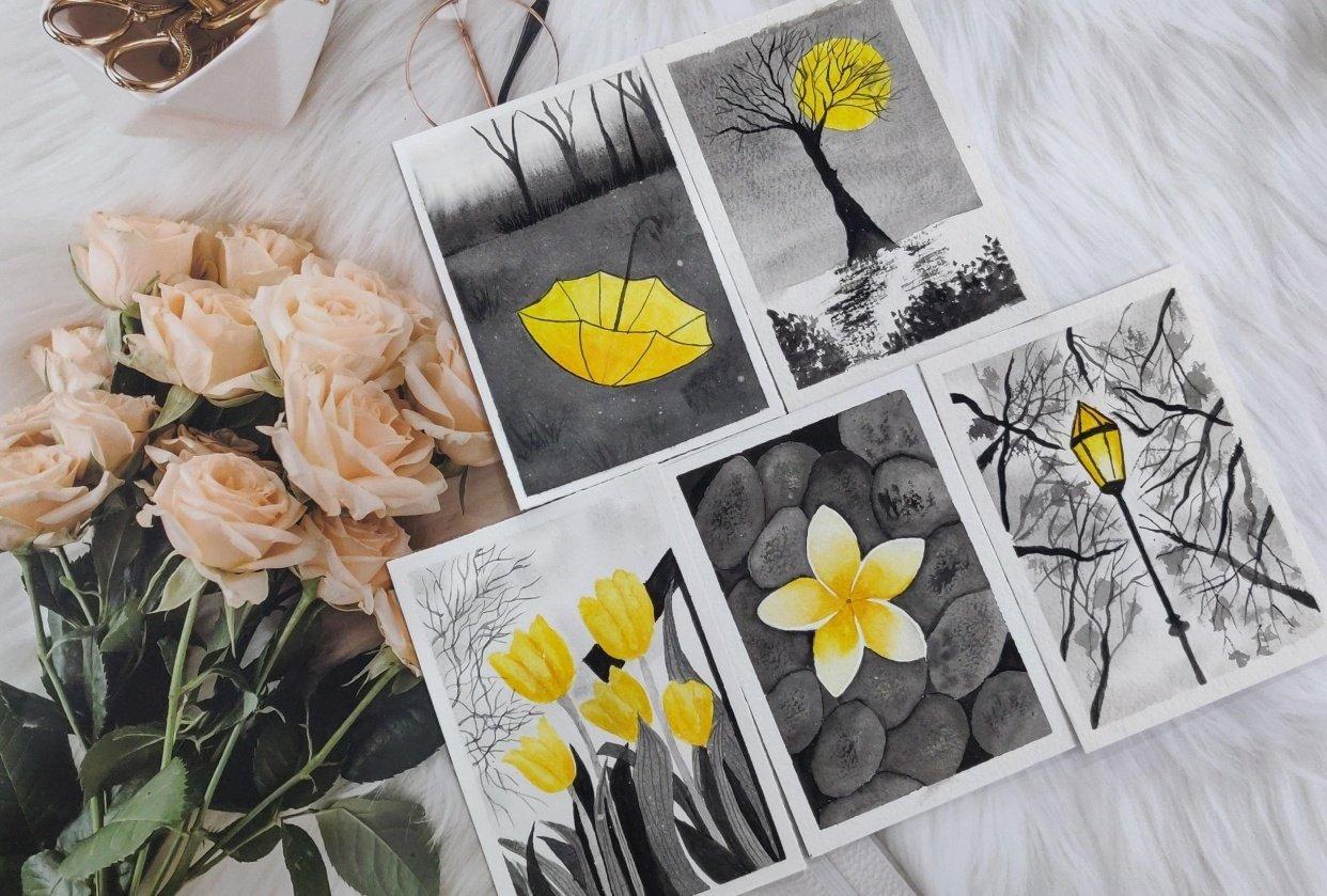 Watercolor postcards: Color splash series - student project