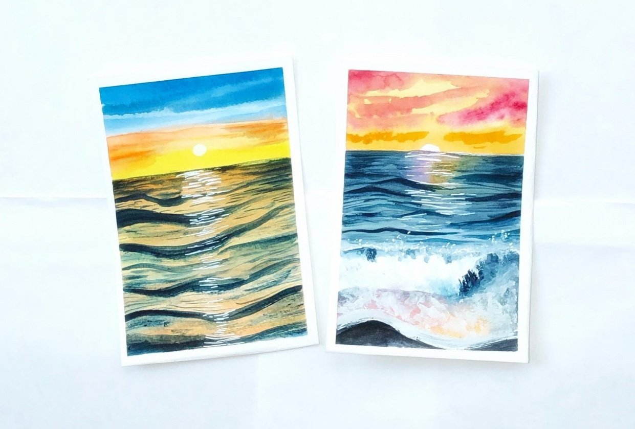 Watercolor sunset seascape - student project