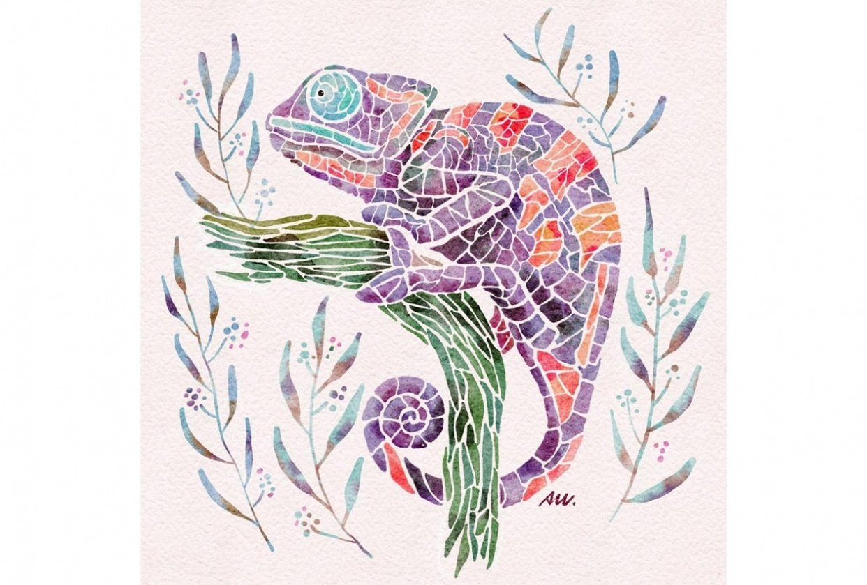 Watercolor Mosaic Chameleon - student project