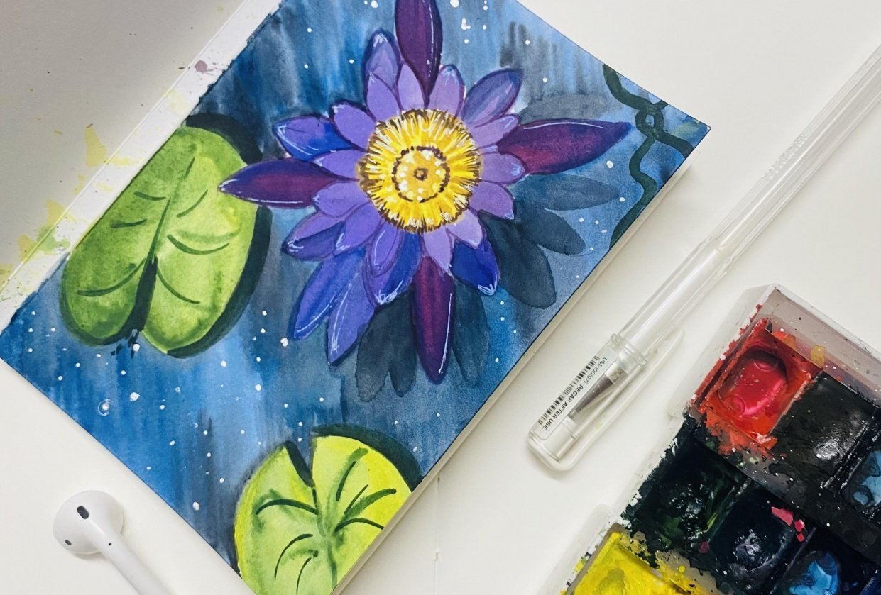 Watercolor lily and Lotus - student project