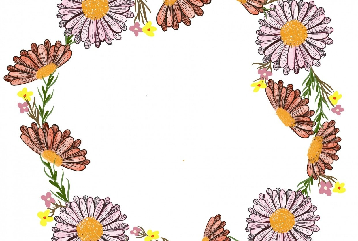 Line flower wreath - student project