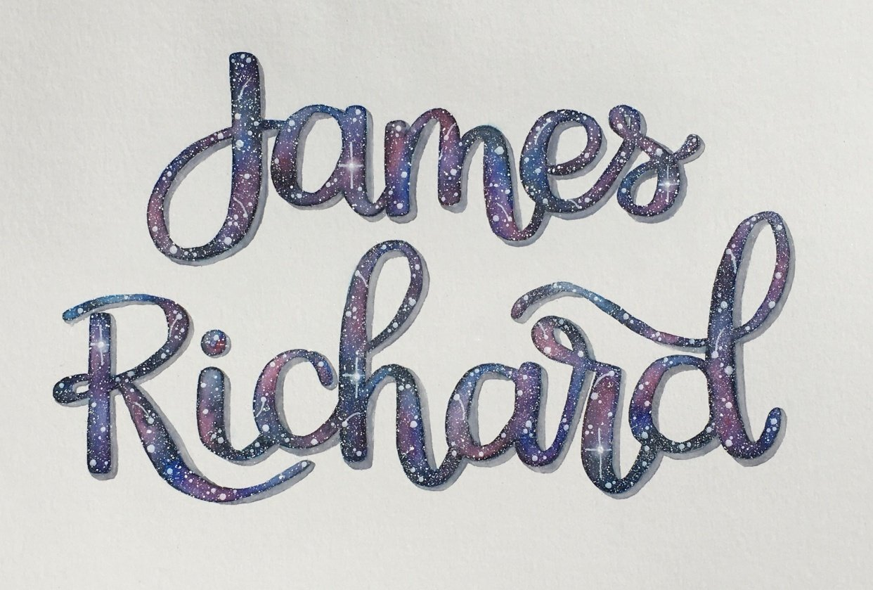 Watercolor Galaxy Lettering - student project