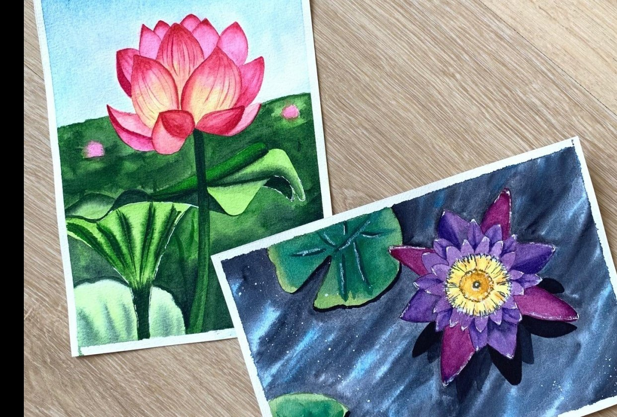 Watercolor Lotus and Water Lily - student project
