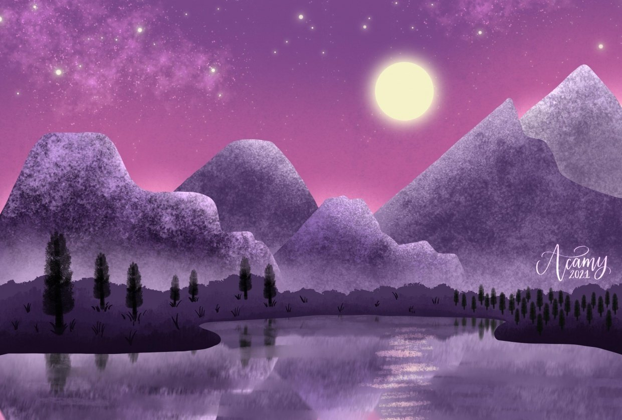 Moonlit Mountains - student project
