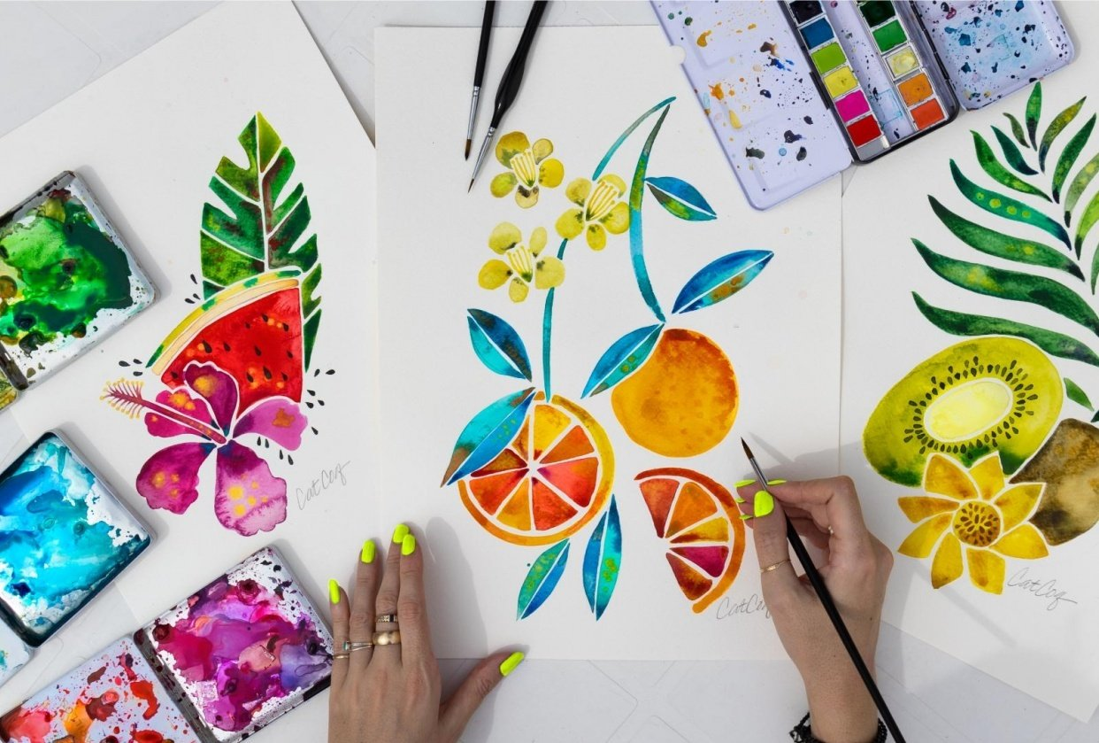 Fruits & Florals in Watercolor - student project