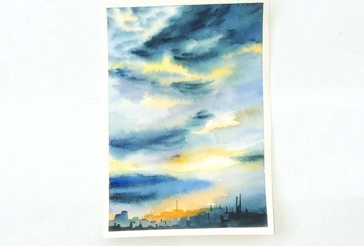 Watercolor sky - student project