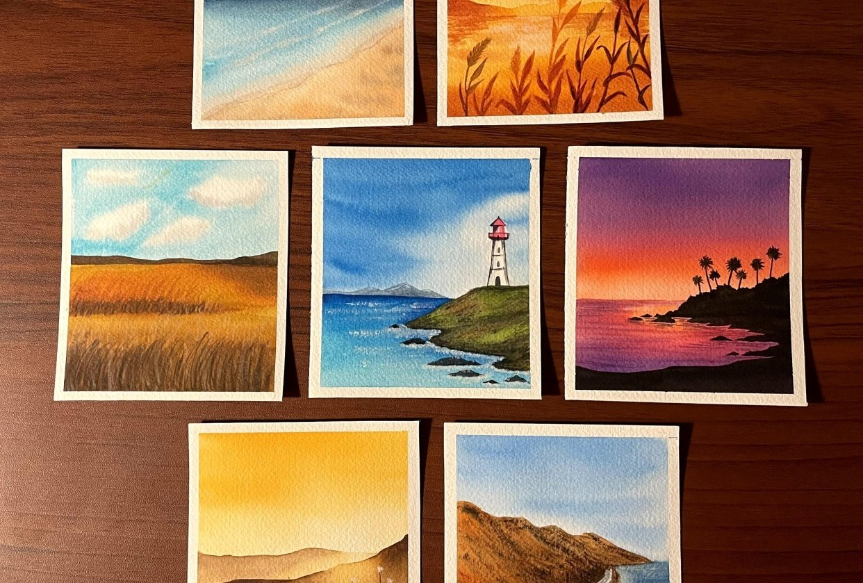 30 day watercolor challenge - 4 seasons - student project
