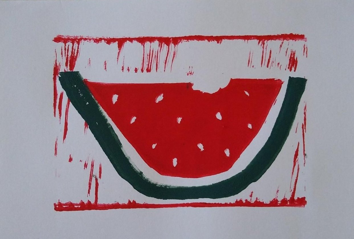 Two-Color Block Print (Watermelon) - student project