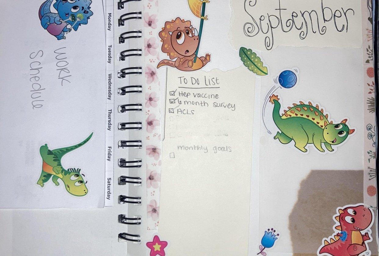 September bullet journal spread - student project