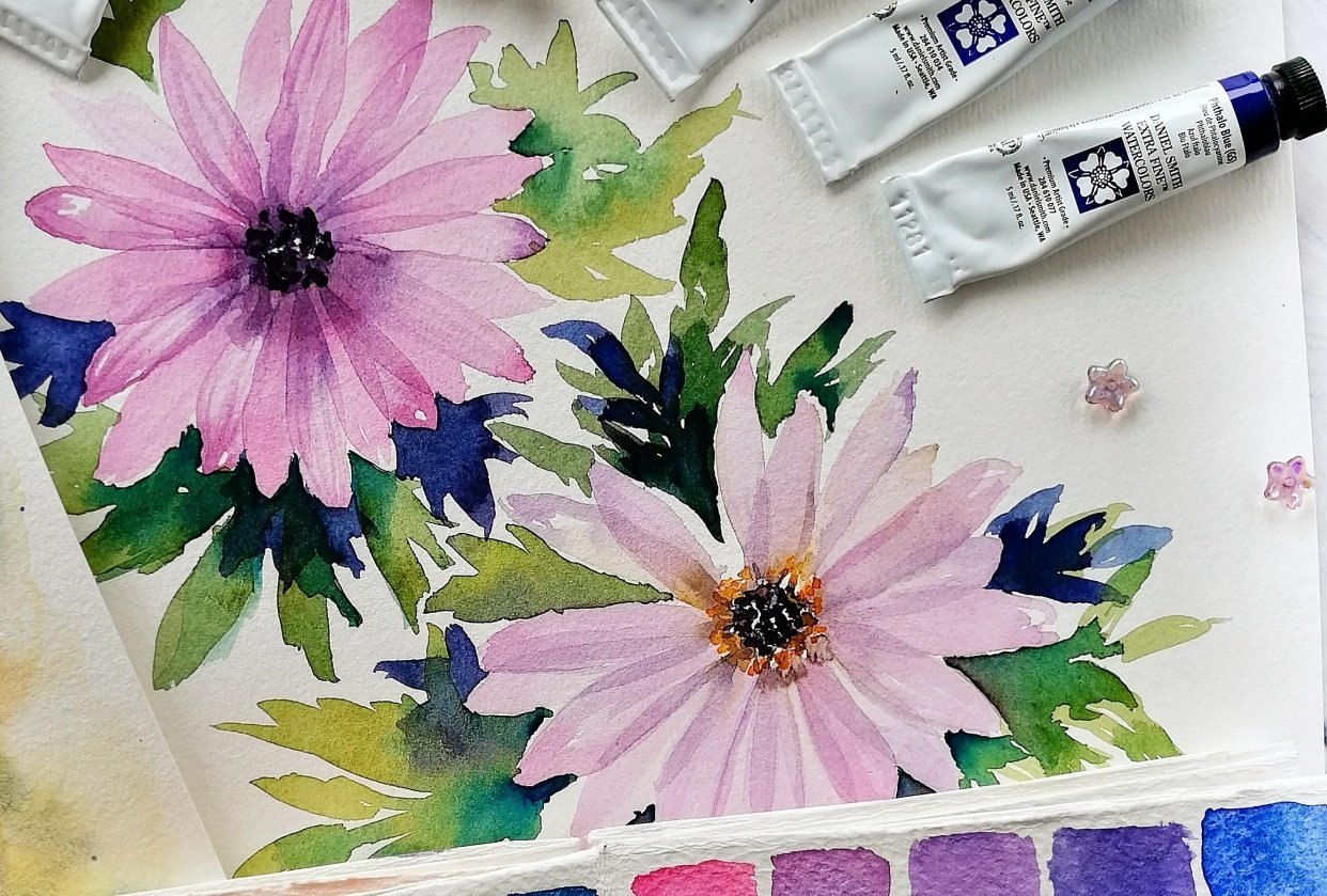 African Daisies in Layering Technique - student project