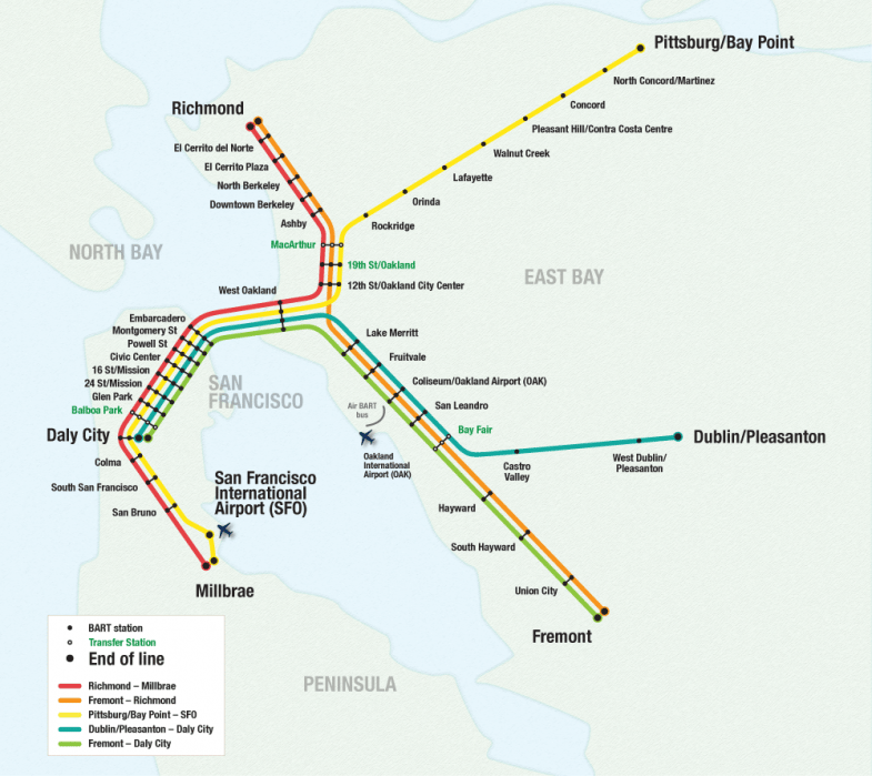 SF Tourist Spots + Bart Map - student project