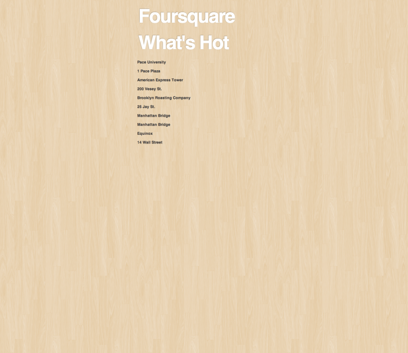 Foursquare What's Hot - student project