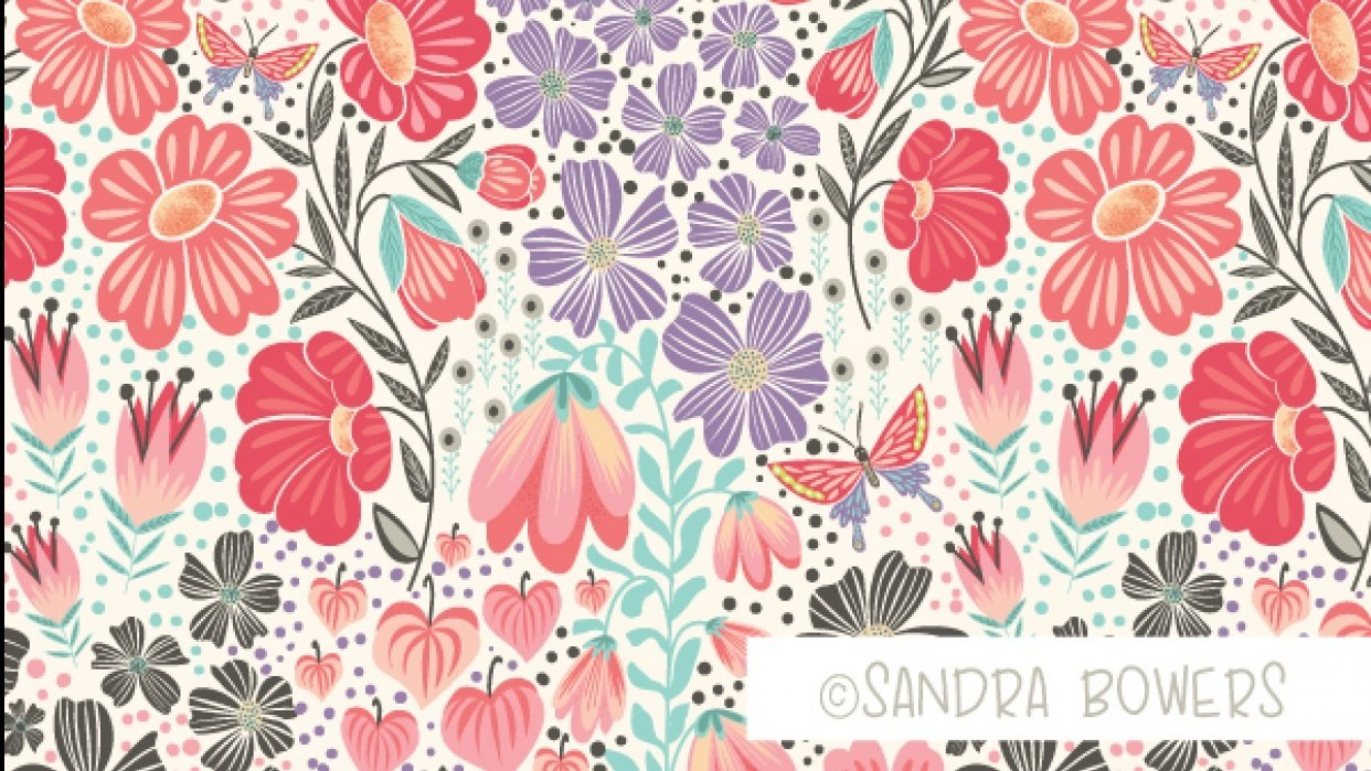 Oriental Blossoms Surface Design - Patterns Collection - student project