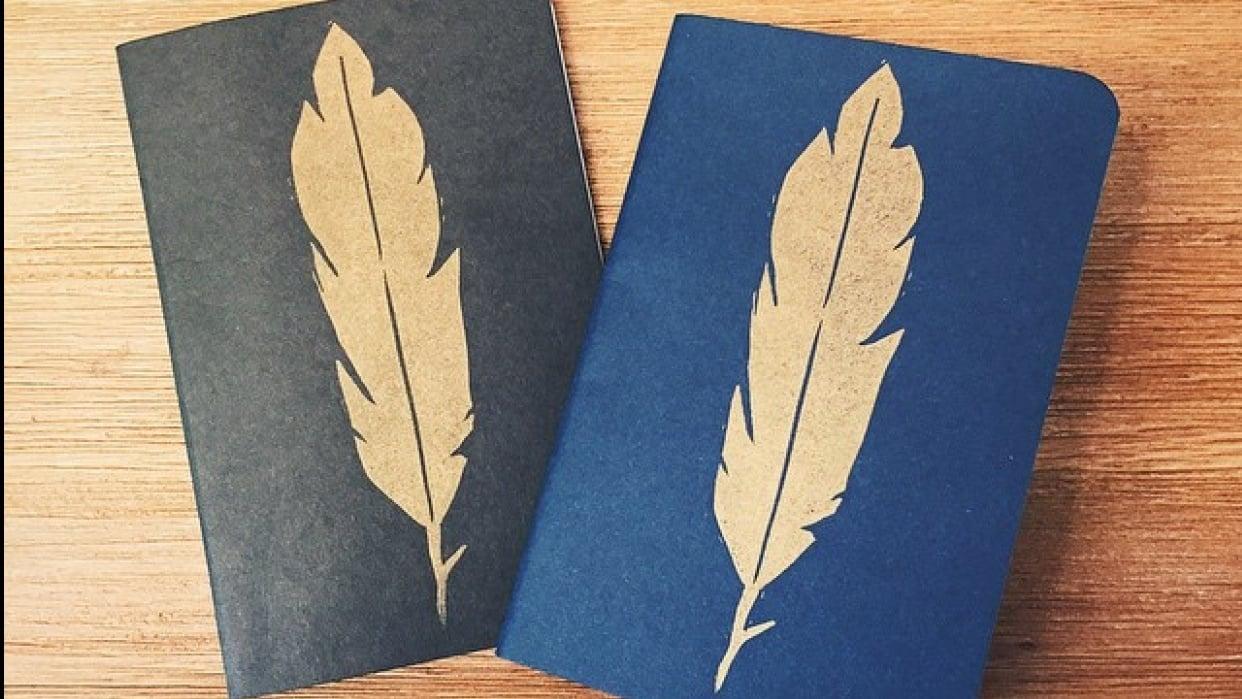 Linocut Memo Books - student project
