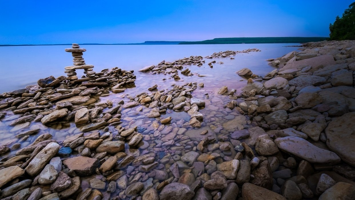 Rocky Beach and Inukshuk at Dusk - student project